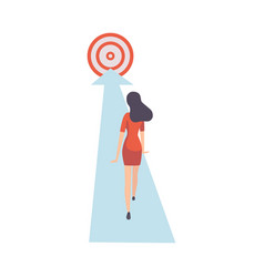 businesswoman walking forward along arrow to goal vector image