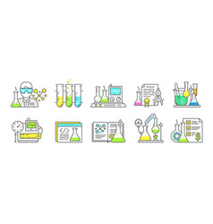chemistry science icon set measuring production vector image
