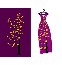 Cherry blossom on long dress for happy chinese vector