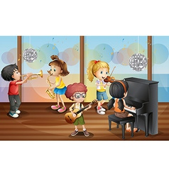 Children and music vector image