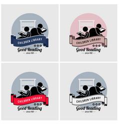 children library logo design artwork of boy and vector image