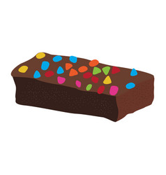 Chocolate brownie with chips vector
