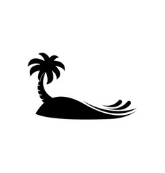 coconut tree beach logo design template black vector image