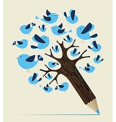 Communication birds concept pencil tree vector image