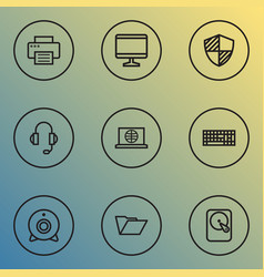 computer icons line style set with print monitor vector image