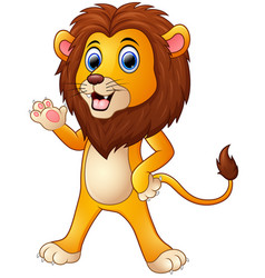 cute lion cartoon waving hand vector image