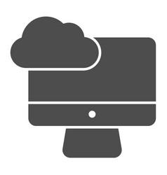 desktop cloud computing solid icon synchronize vector image