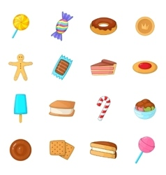 Different candy icons set cartoon style vector