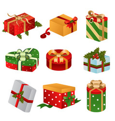 Different designs of christmas present boxes vector