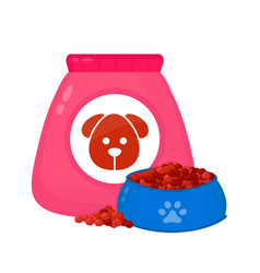 Dog food bagfeed in a bowl vector