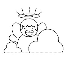 Dotted shape cute angel with aureole and wings vector