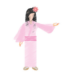 drawing japanese woman traditional dress vector image
