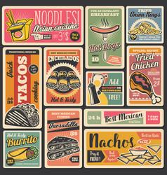 fast food snacks street food retro posters vector image