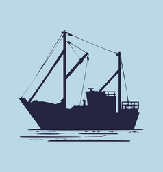 fishing boat used as a vehicle for finding fish in vector image