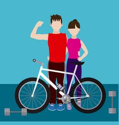 Fitness couple cartoon vector