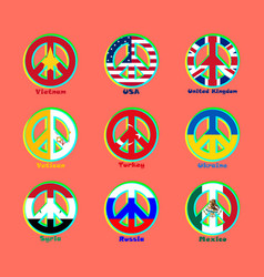 Flags countries of the world as a sign of pacifism vector