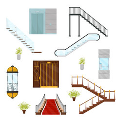 flat set of different elevators and stairs vector image