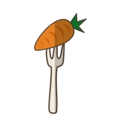 fork with carrot fresh vegetable isolated icon vector image