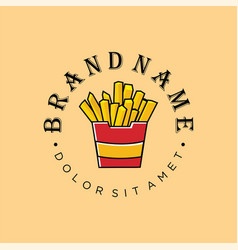 French fries logo for fast food fried potato icon vector