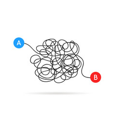 From a to b messy scribble line vector