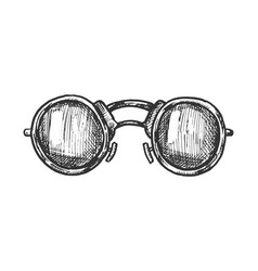 glasses round form lenses accessory ink vector image