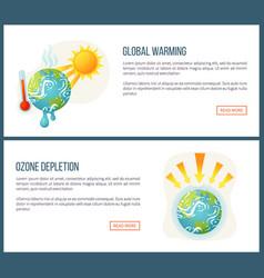Global warming and ozone depletion websites set vector