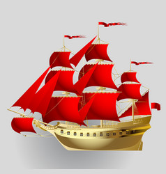 Gold sailing ship with red sails on gray vector