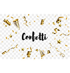 golden confetti with party poppers isolated vector image