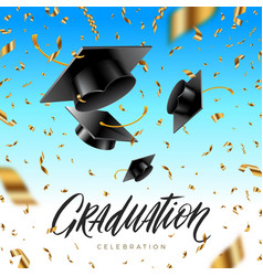 graduation cap thrown up and golden foil confetti vector image