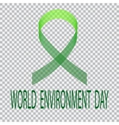 Green ribbon on a plaid background Environment vector image