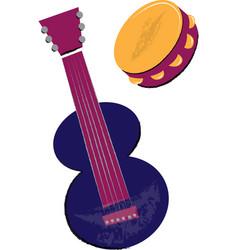 Guitar and tambourine children vector