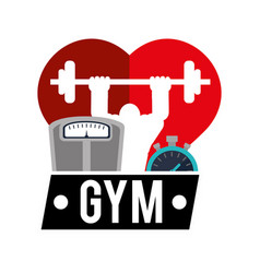 gym heart man weight scale and chronometer vector image