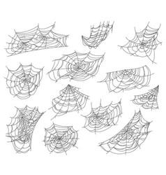 halloween isolated spiderweb and cobweb nets set vector image