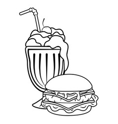 Hamburger and milk shake black and white vector