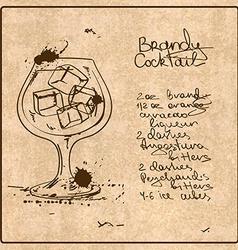 Hand drawn Brandy cocktail vector