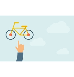 Hand pointing to a bicycle icon vector
