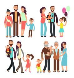 Happy active family cartoon people vector