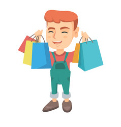 Happy caucasian holding shopping bags vector