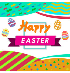 Happy easter colorwhite background with colorful vector