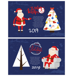 happy holiday greeting card santa rest in armchair vector image