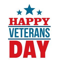 Happy veterans day logo flat style vector