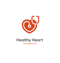 Heart logo with stethoscope vector