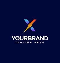 Initial letter x logo with lighting thunderbolt vector