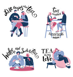 inspirational tea quotes hand lettering vector image