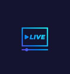 Live stream player icon vector