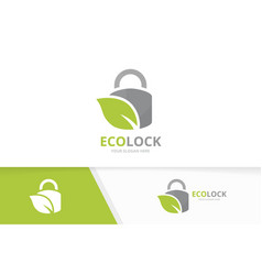 lock and leaf logo combination safe and vector image