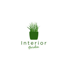 Logo plants in pots for room decoration fresh vector
