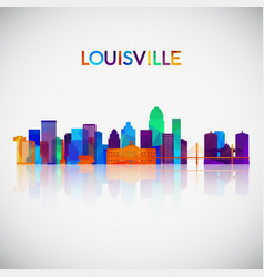 louisville skyline silhouette in colorful vector image