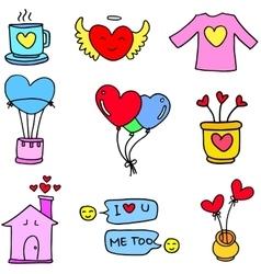 Love art doodles design vector image