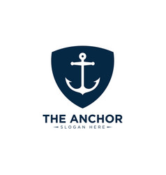 Marine retro emblems logo with anchor anchor vector